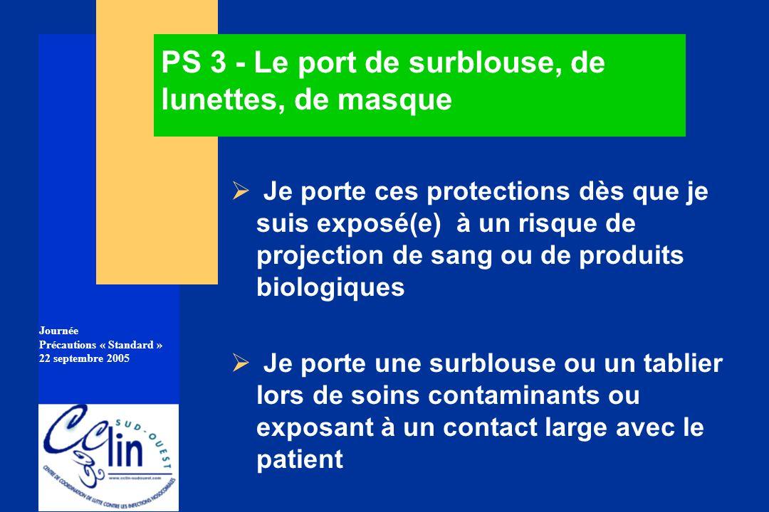 PS 3 - Le port de surblouse, de lunettes, de masque
