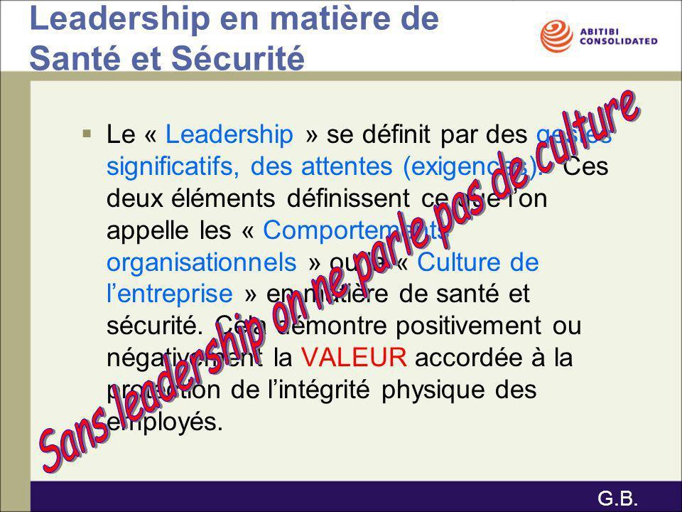 Leadership en matière de Santé et Sécurité