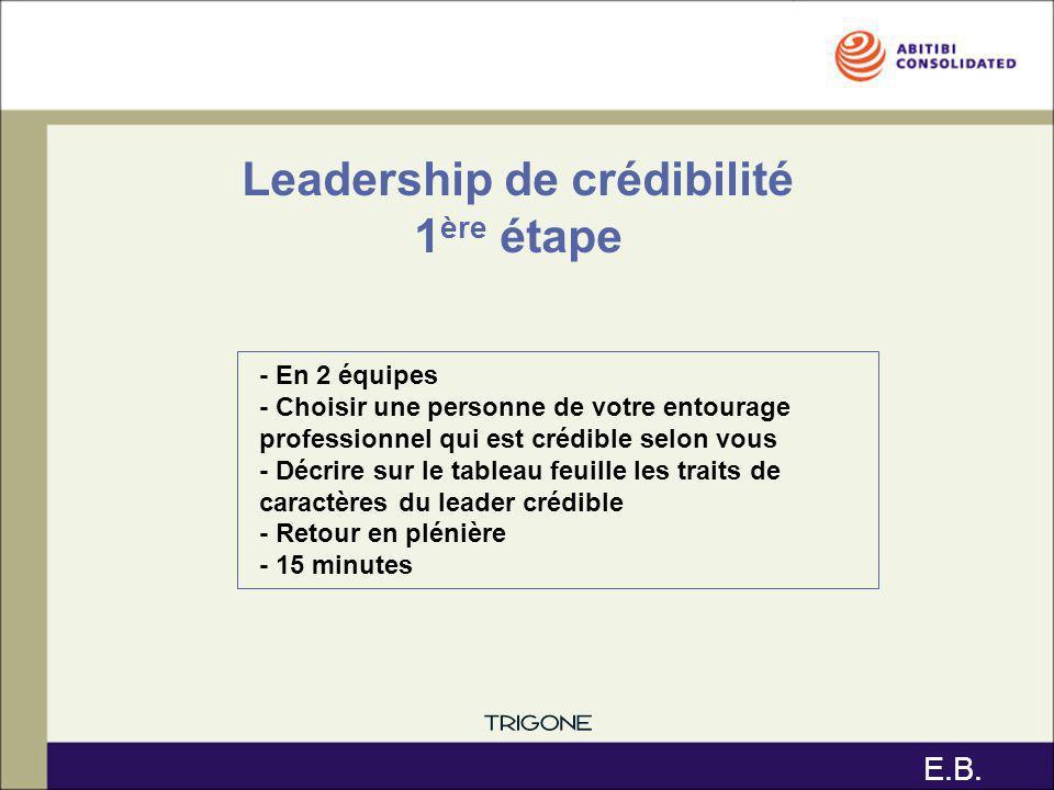 Leadership de crédibilité 1ère étape