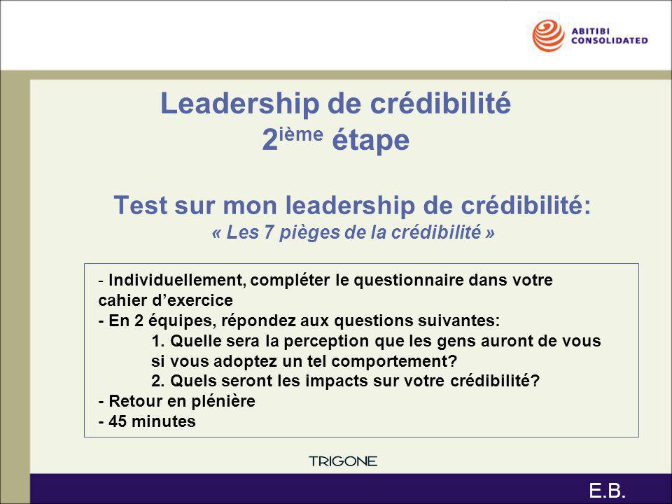 Leadership de crédibilité 2ième étape