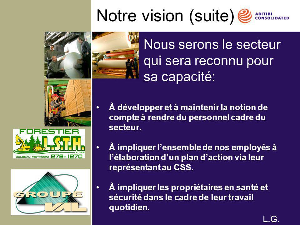 Notre vision (suite) Nous serons le secteur qui sera reconnu pour sa capacité:
