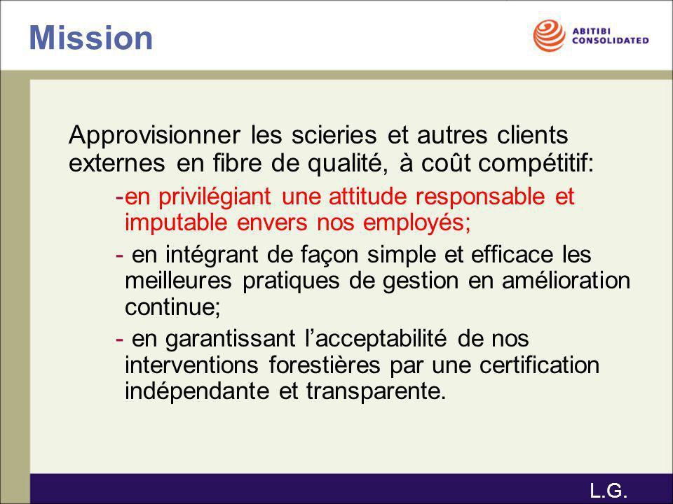 Mission Approvisionner les scieries et autres clients externes en fibre de qualité, à coût compétitif: