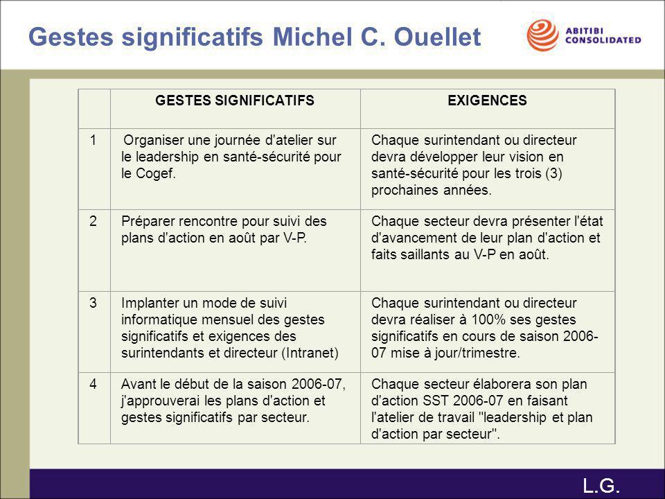 Gestes significatifs Michel C. Ouellet