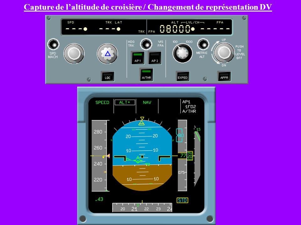 Capture de l'altitude de croisière / Changement de représentation DV