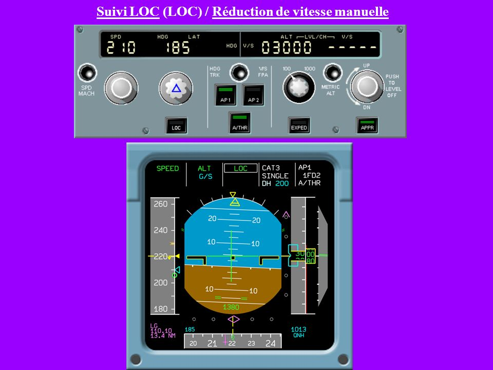 Suivi LOC (LOC) / Réduction de vitesse manuelle