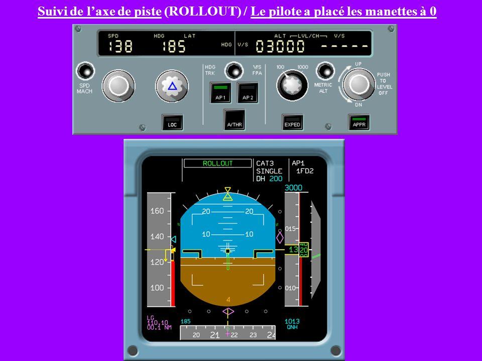 Suivi de l'axe de piste (ROLLOUT) / Le pilote a placé les manettes à 0