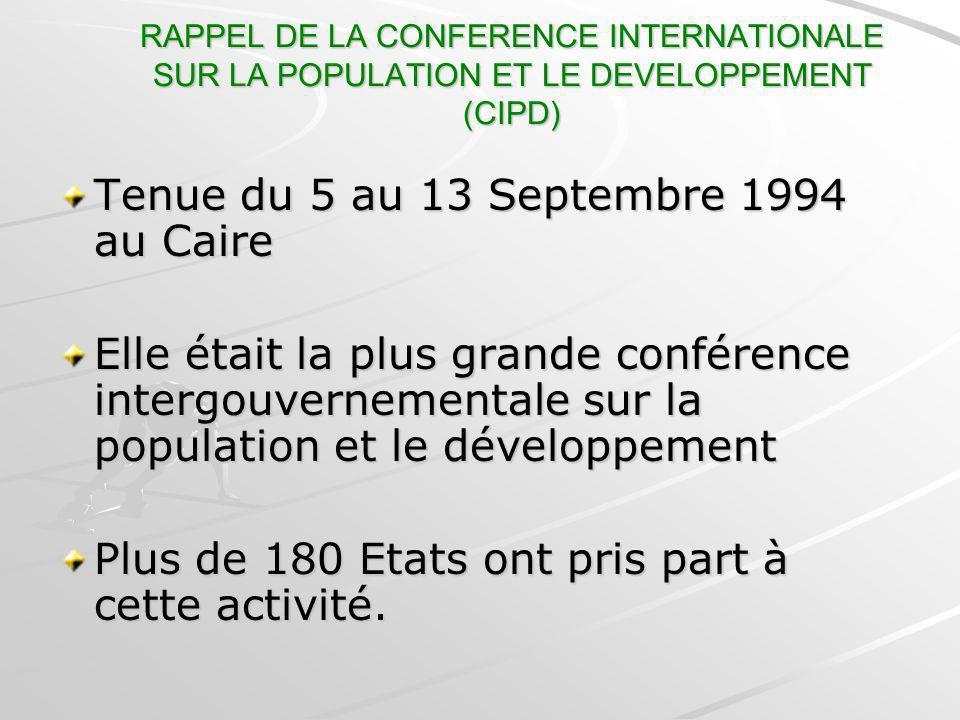 Tenue du 5 au 13 Septembre 1994 au Caire