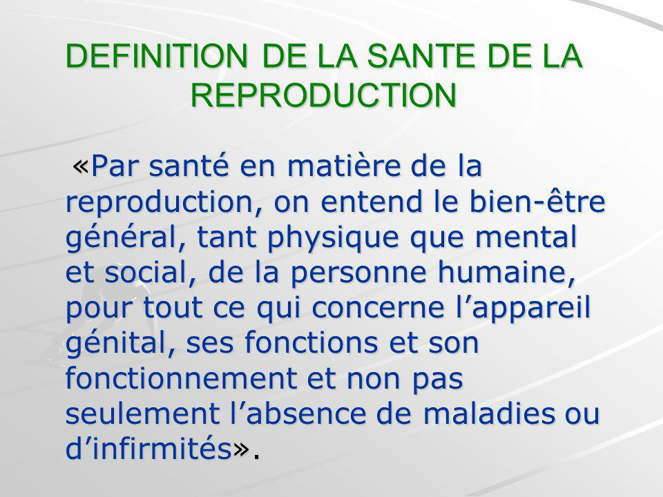 DEFINITION DE LA SANTE DE LA REPRODUCTION