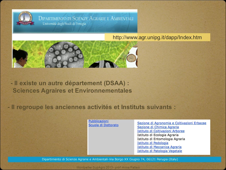 - Il existe un autre département (DSAA) :