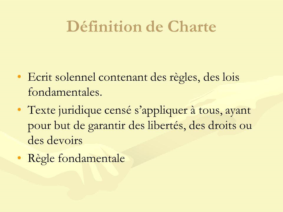 Définition de Charte Ecrit solennel contenant des règles, des lois fondamentales.