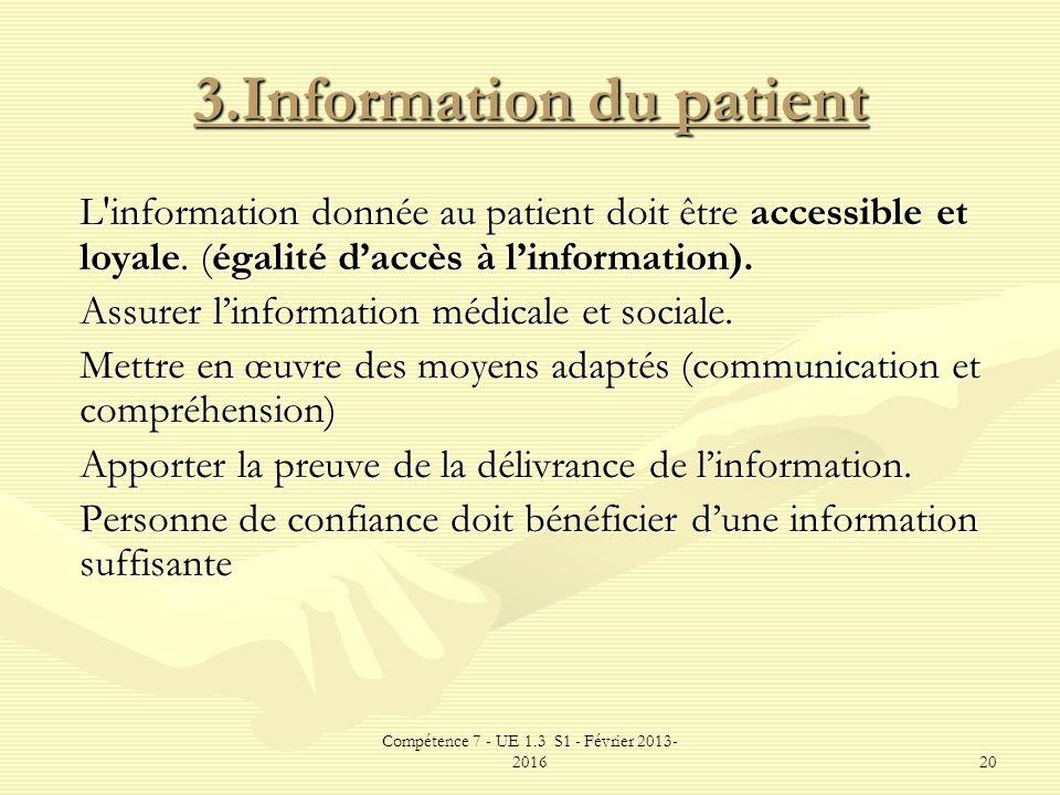 3.Information du patient