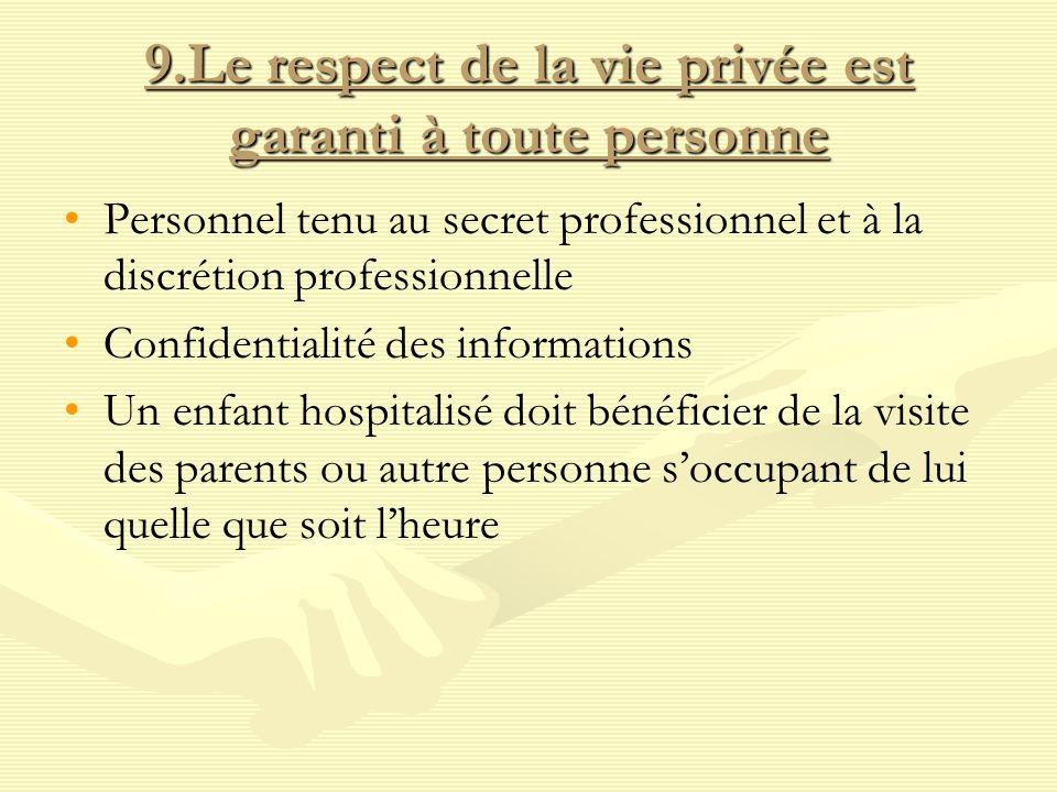 9.Le respect de la vie privée est garanti à toute personne