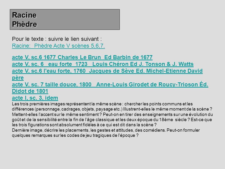Racine Phèdre. Pour le texte : suivre le lien suivant : Racine: Phèdre Acte V scènes 5,6,7.