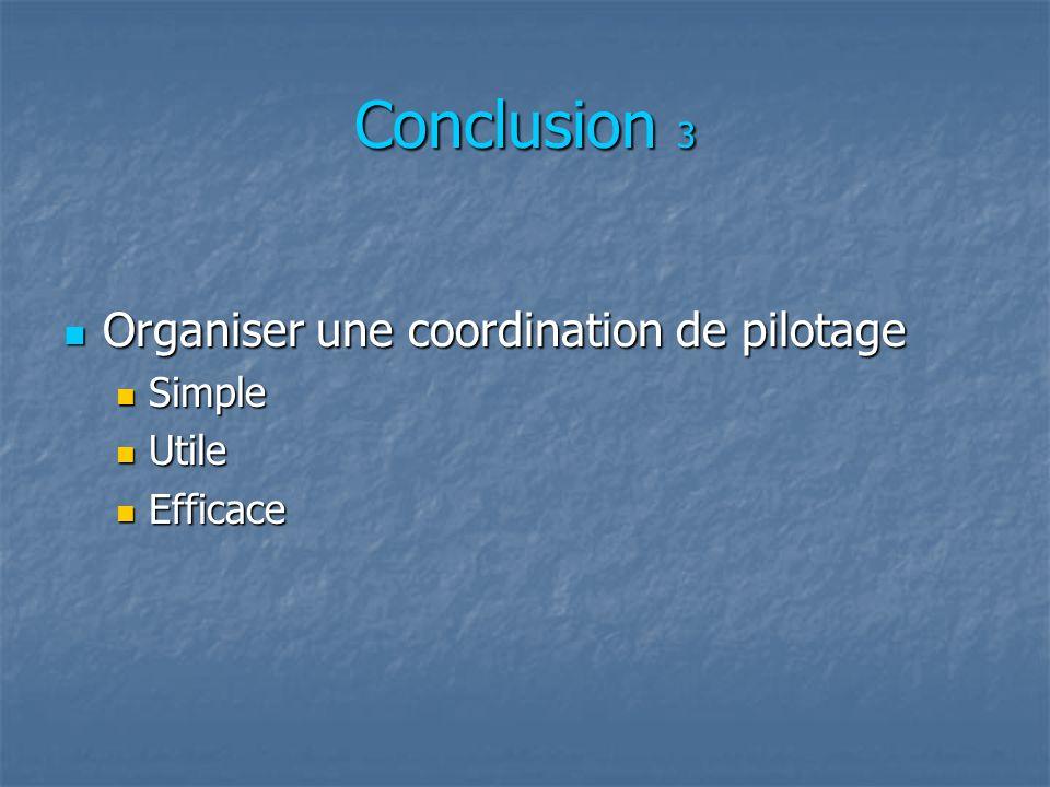 Conclusion 3 Organiser une coordination de pilotage Simple Utile