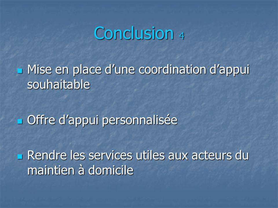 Conclusion 4 Mise en place d'une coordination d'appui souhaitable