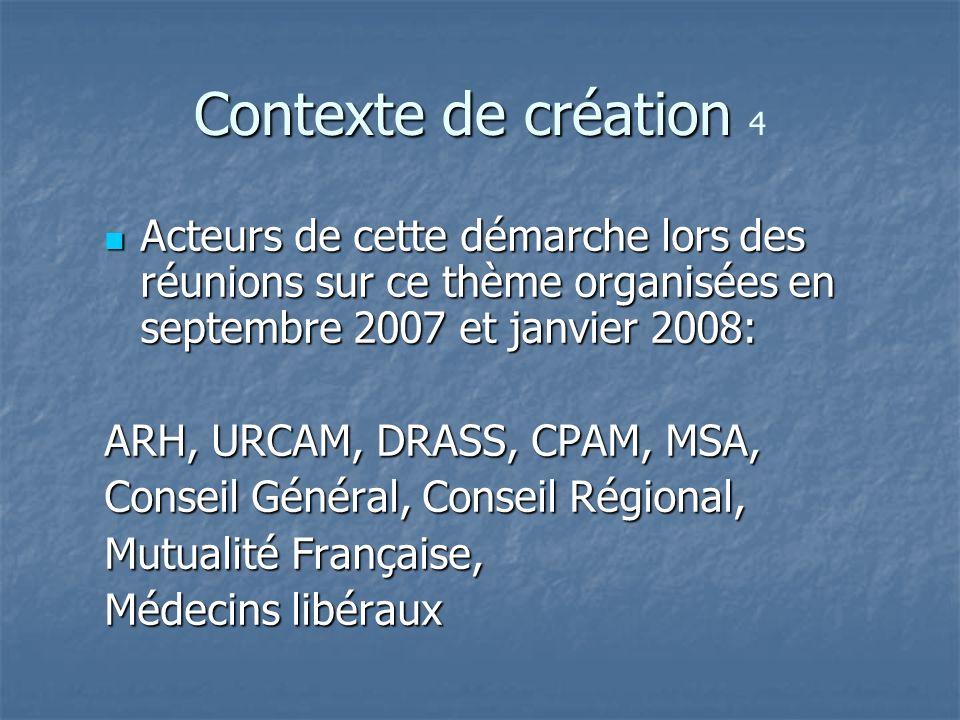 Contexte de création 4 Acteurs de cette démarche lors des réunions sur ce thème organisées en septembre 2007 et janvier 2008: