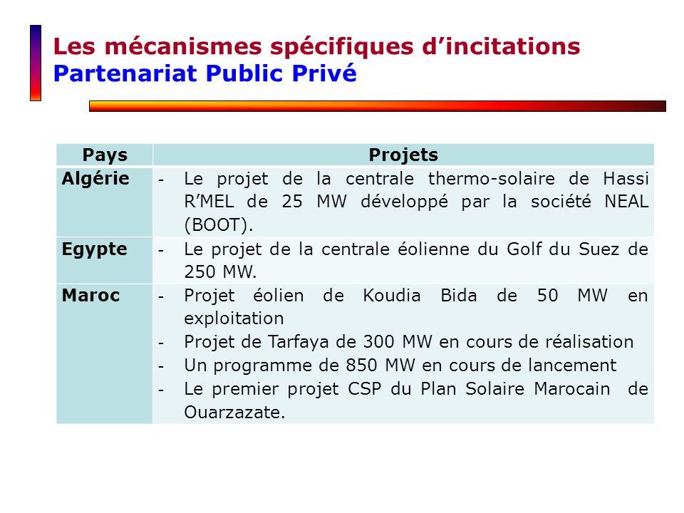 Les mécanismes spécifiques d'incitations Partenariat Public Privé