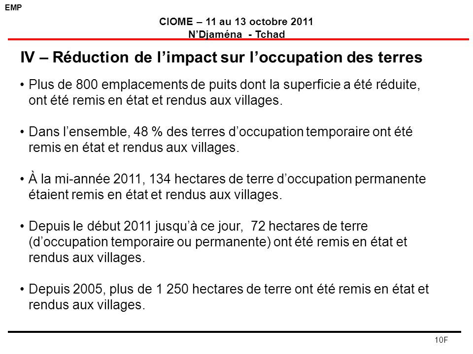 IV – Réduction de l'impact sur l'occupation des terres