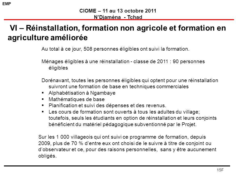 VI – Réinstallation, formation non agricole et formation en agriculture améliorée