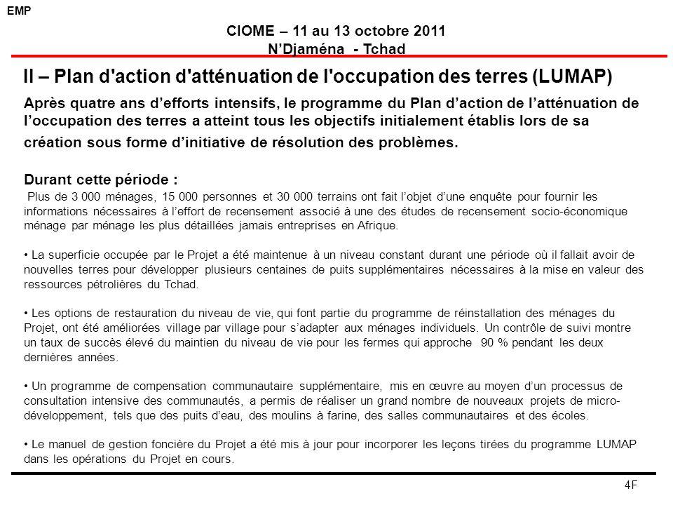 II – Plan d action d atténuation de l occupation des terres (LUMAP)
