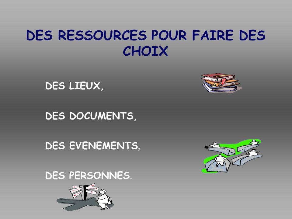 DES RESSOURCES POUR FAIRE DES CHOIX