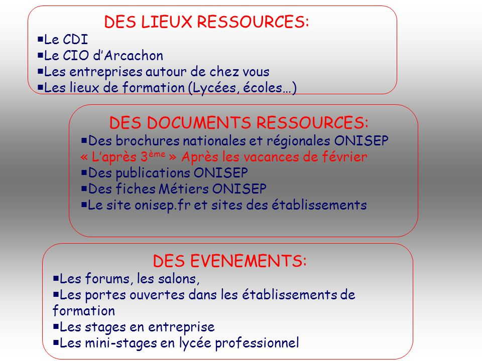 DES DOCUMENTS RESSOURCES: