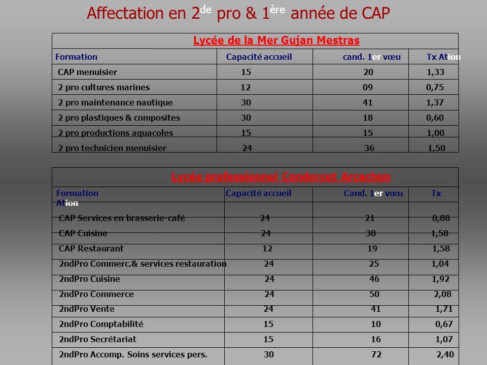 Affectation en 2de pro & 1ère année de CAP
