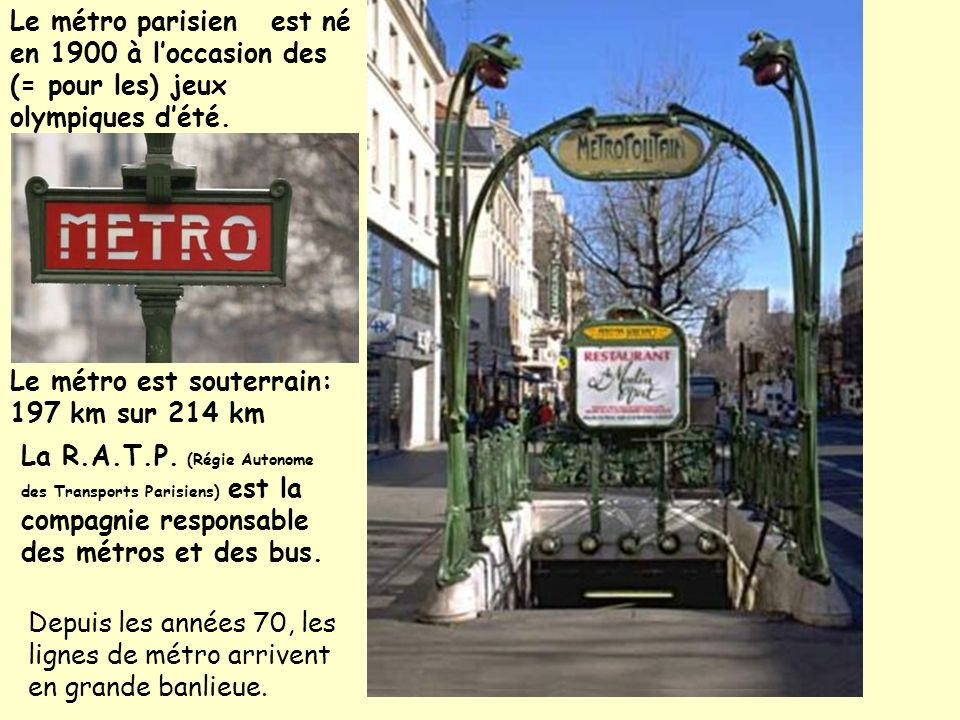 Le métro parisien est né en 1900 à l'occasion des (= pour les) jeux olympiques d'été.