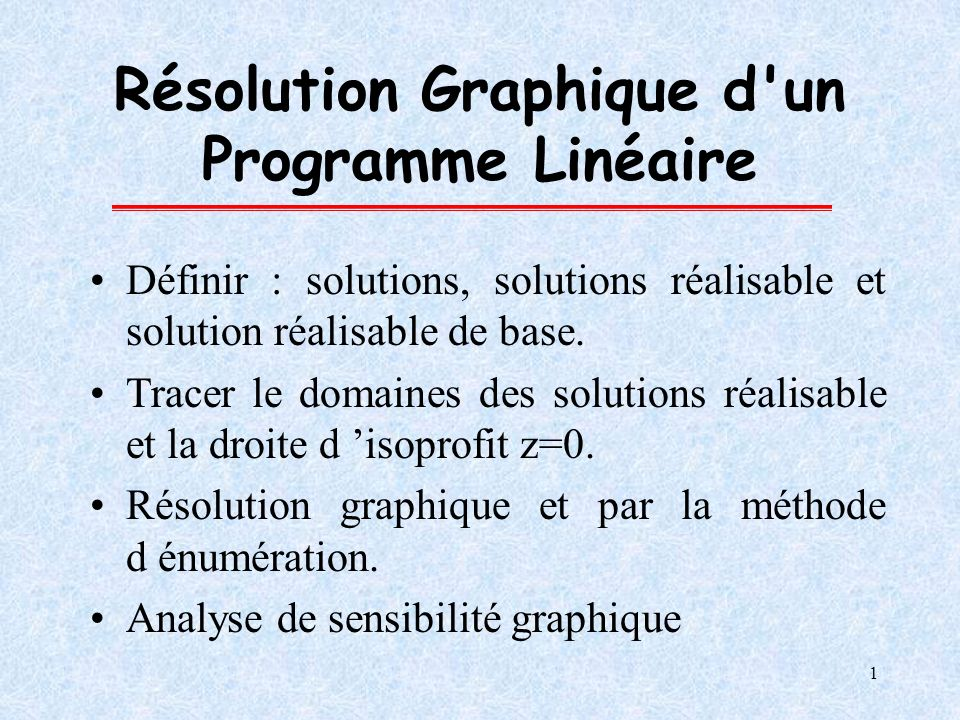 Résolution Graphique d un Programme Linéaire