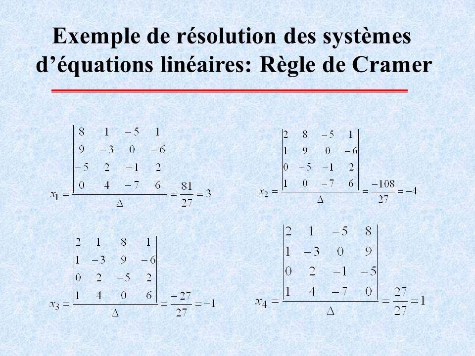 Exemple de résolution des systèmes d'équations linéaires: Règle de Cramer