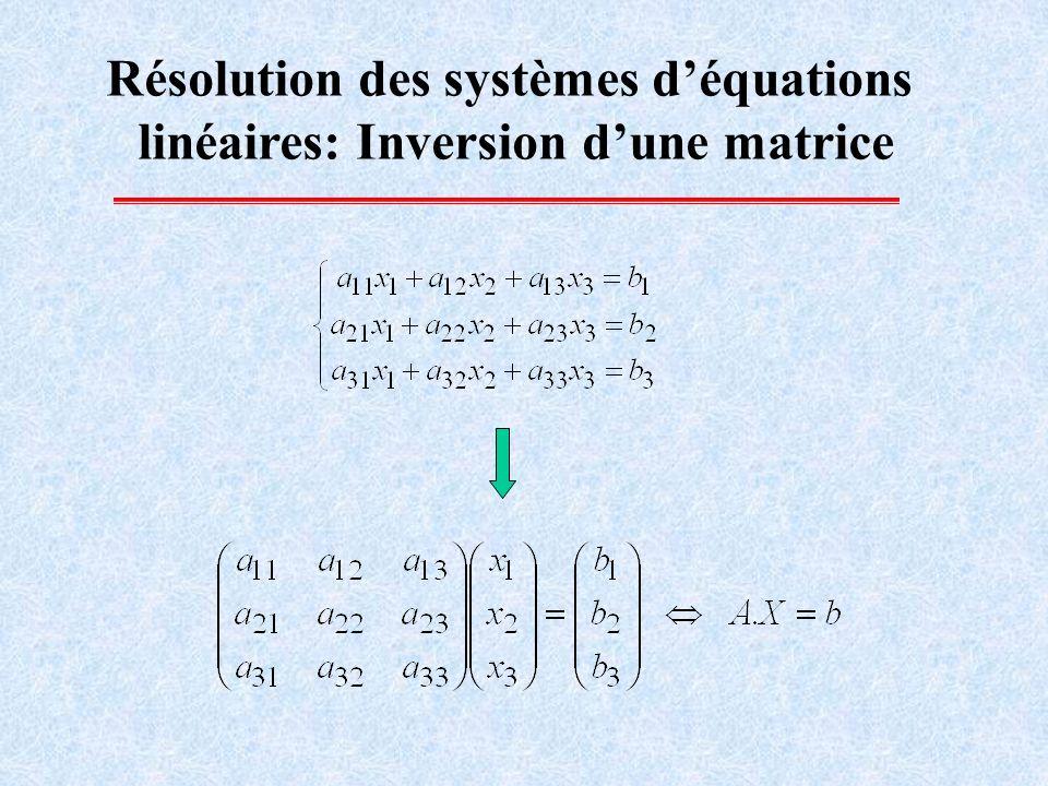 Résolution des systèmes d'équations linéaires: Inversion d'une matrice