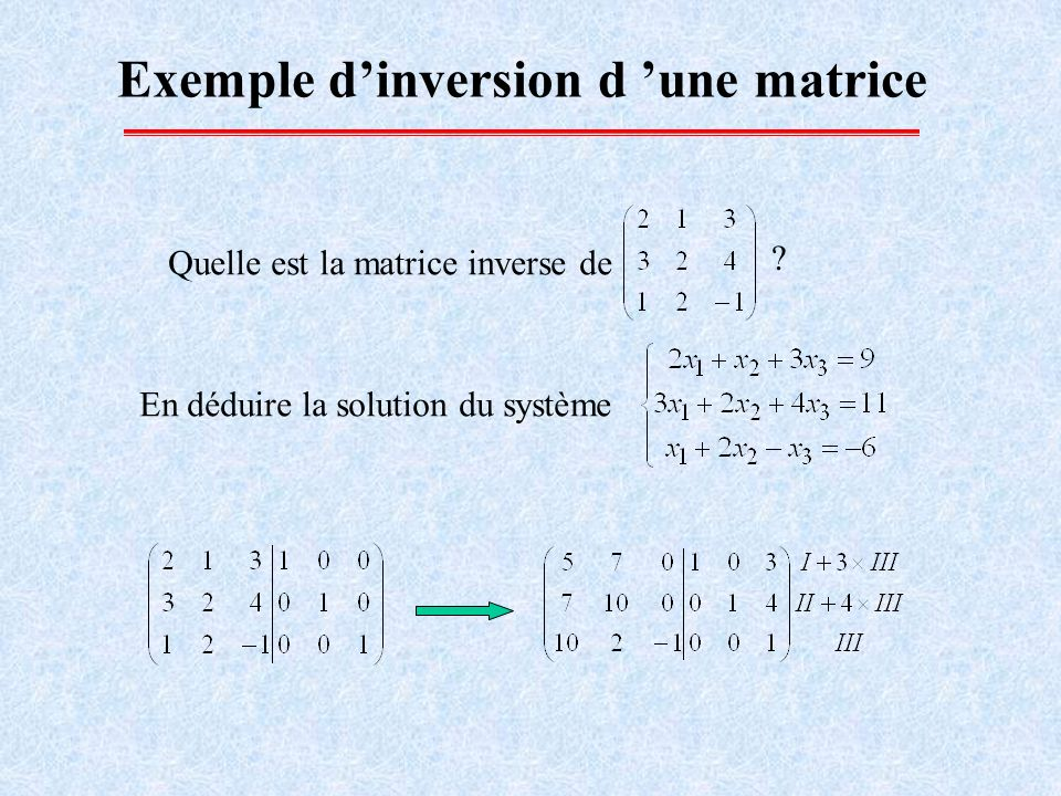 Exemple d'inversion d 'une matrice