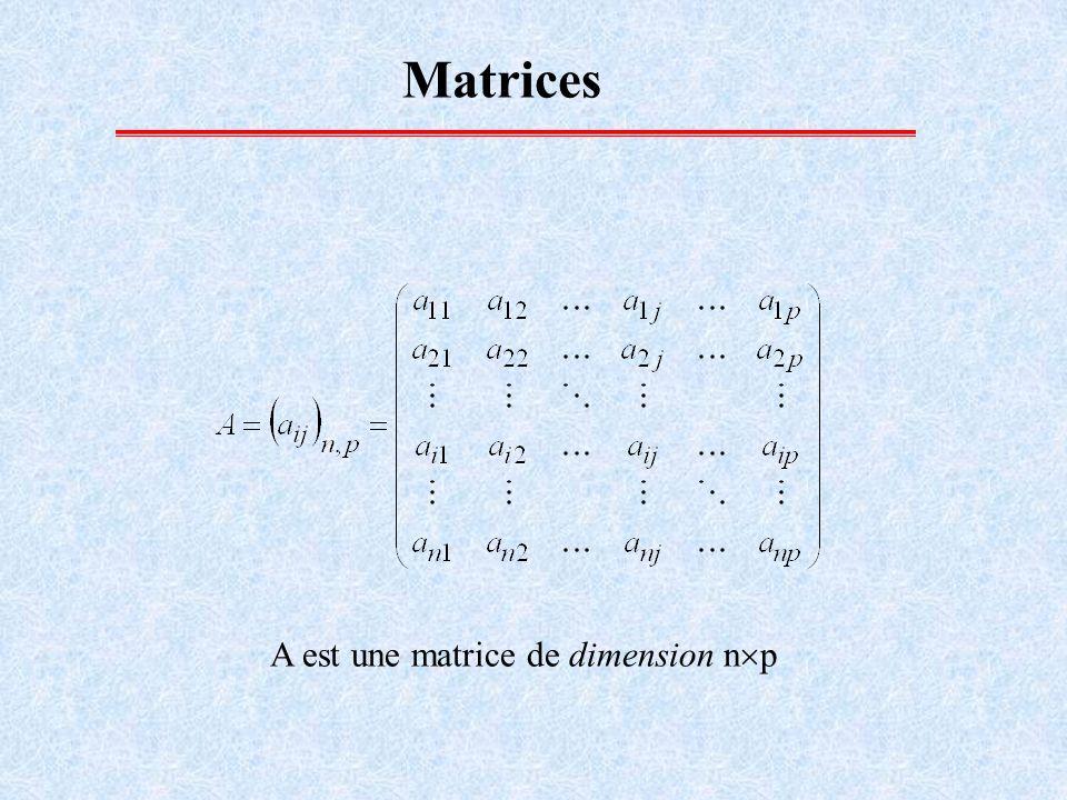 Matrices A est une matrice de dimension np