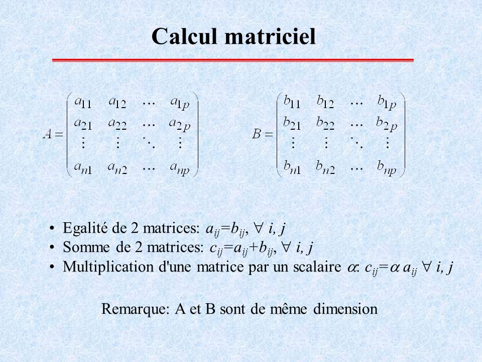 Calcul matriciel Egalité de 2 matrices: aij=bij,  i, j