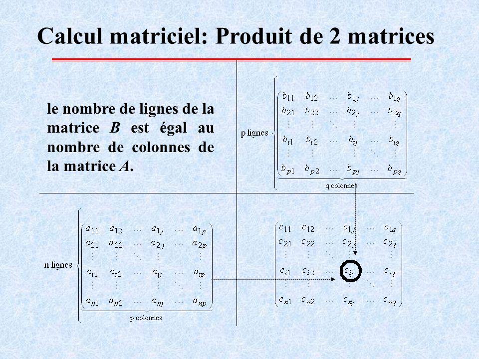 Calcul matriciel: Produit de 2 matrices