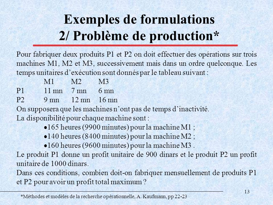 Exemples de formulations 2/ Problème de production*