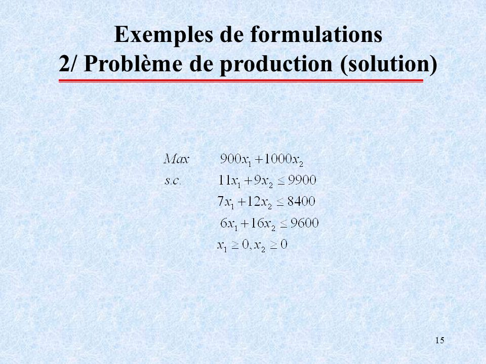 Exemples de formulations 2/ Problème de production (solution)