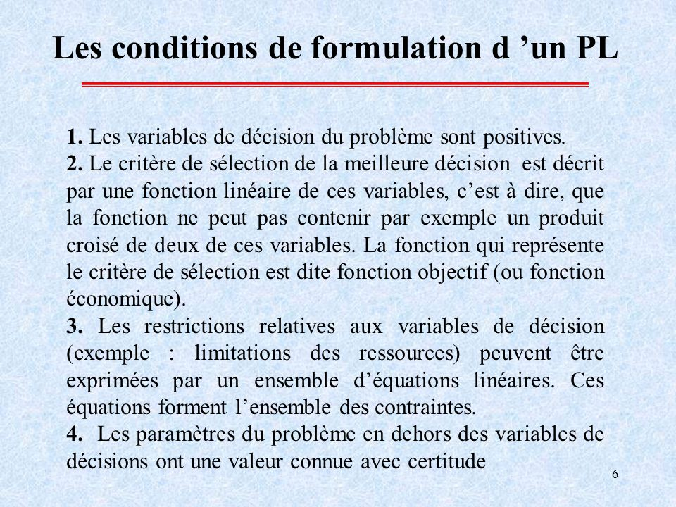 Les conditions de formulation d 'un PL