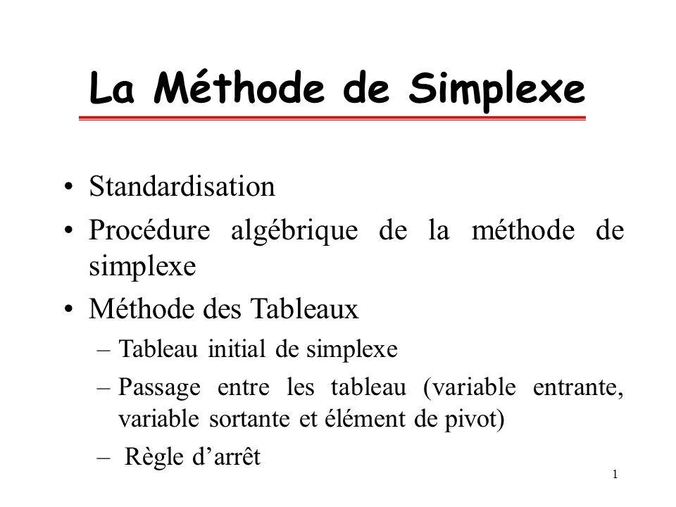 La Méthode de Simplexe Standardisation