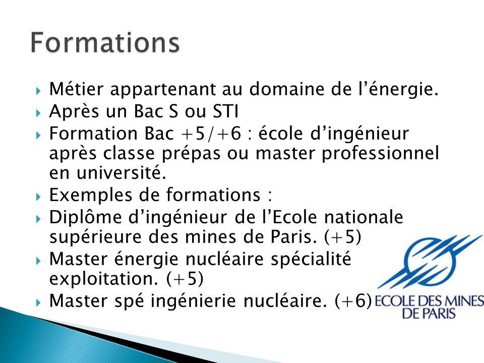 Formations Métier appartenant au domaine de l'énergie.