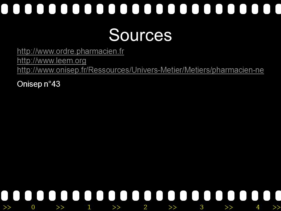 Sources http://www.ordre.pharmacien.fr http://www.leem.org http://www.onisep.fr/Ressources/Univers-Metier/Metiers/pharmacien-ne.