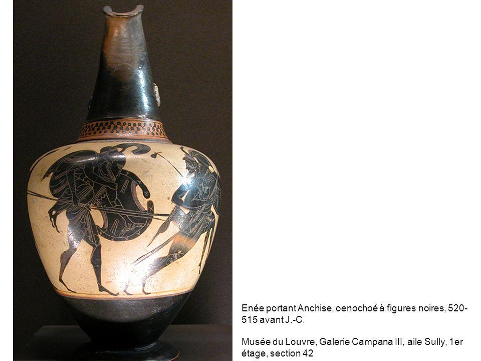Enée portant Anchise, oenochoé à figures noires, 520-515 avant J.-C.