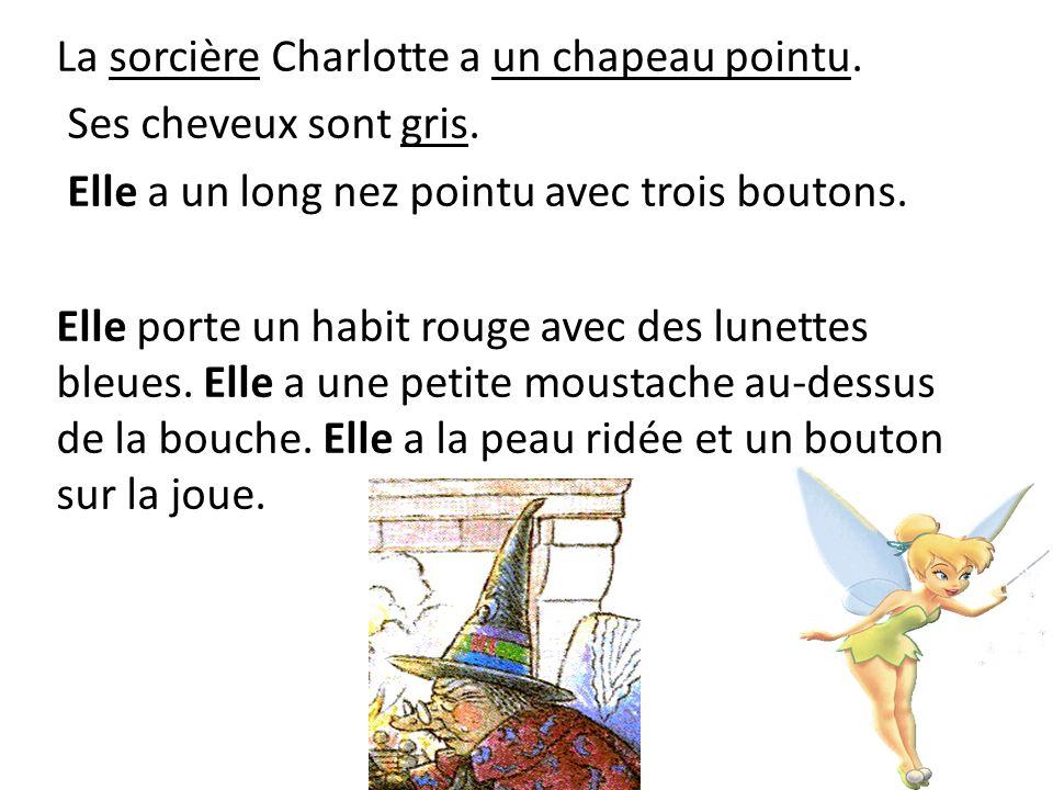 La sorcière Charlotte a un chapeau pointu.