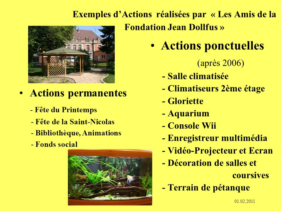 Actions ponctuelles (après 2006) Actions permanentes