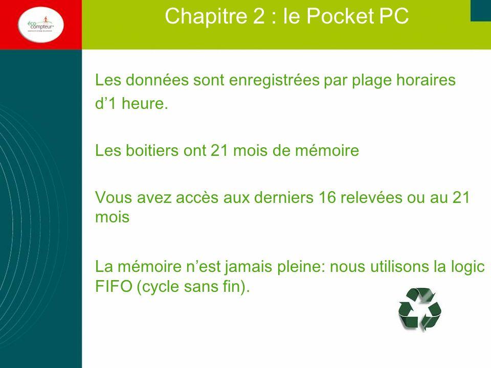 Chapitre 2 : le Pocket PC Les données sont enregistrées par plage horaires. d'1 heure. Les boitiers ont 21 mois de mémoire.