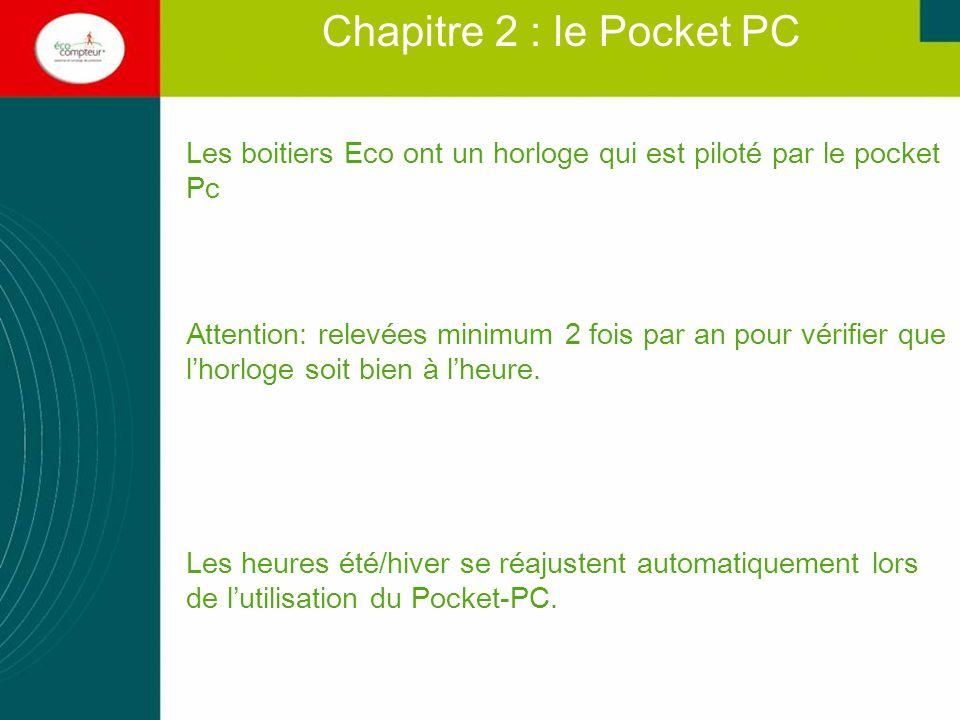Chapitre 2 : le Pocket PC Les boitiers Eco ont un horloge qui est piloté par le pocket Pc.