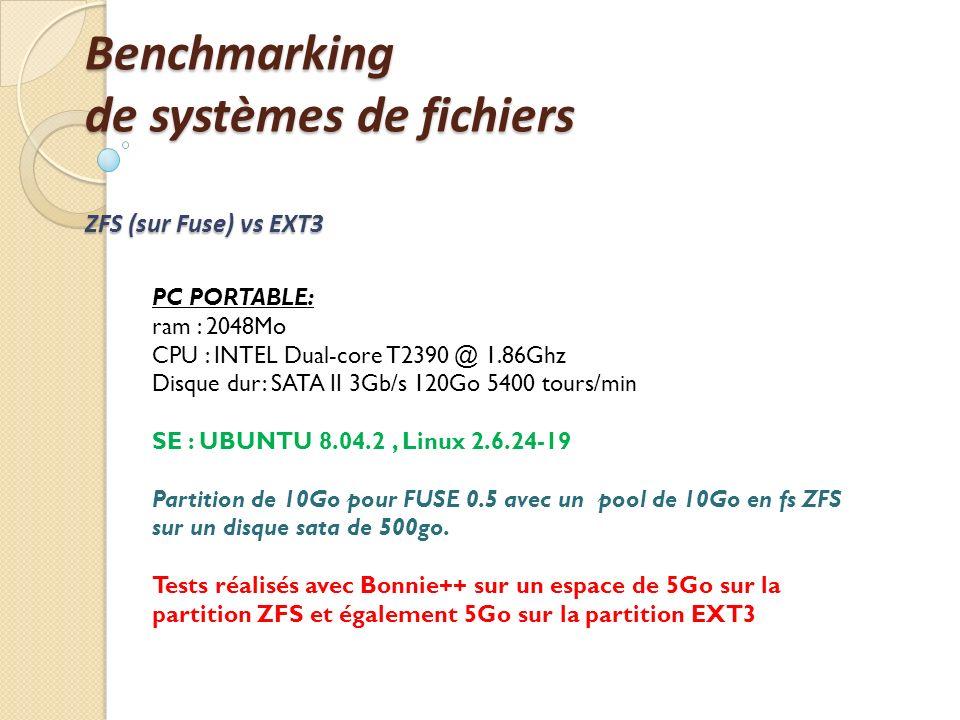 Benchmarking de systèmes de fichiers ZFS (sur Fuse) vs EXT3