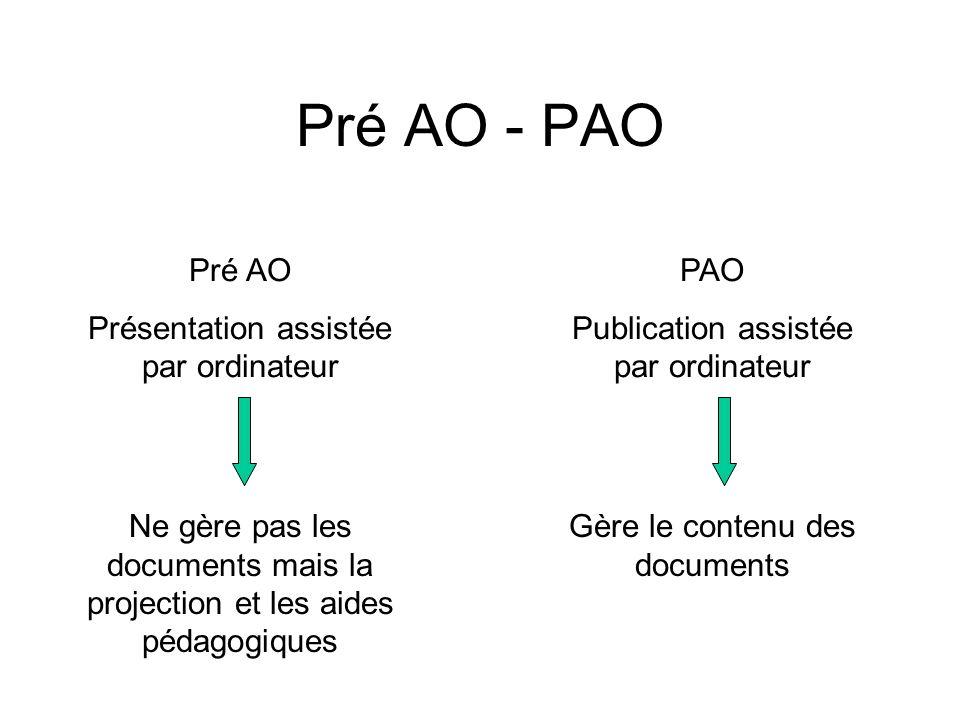 Pré AO - PAO Pré AO Présentation assistée par ordinateur PAO