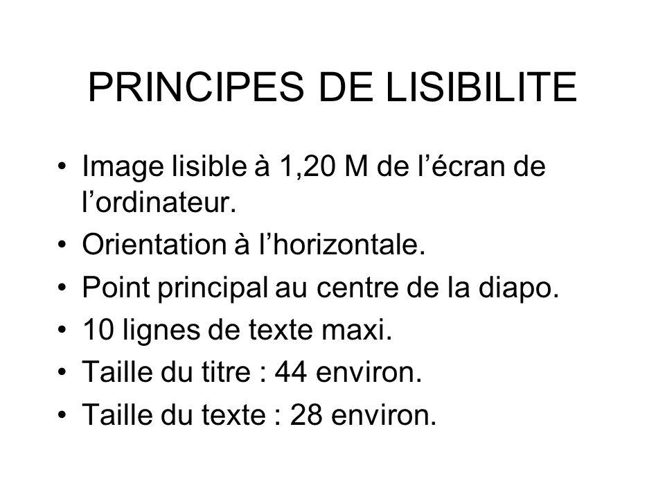PRINCIPES DE LISIBILITE