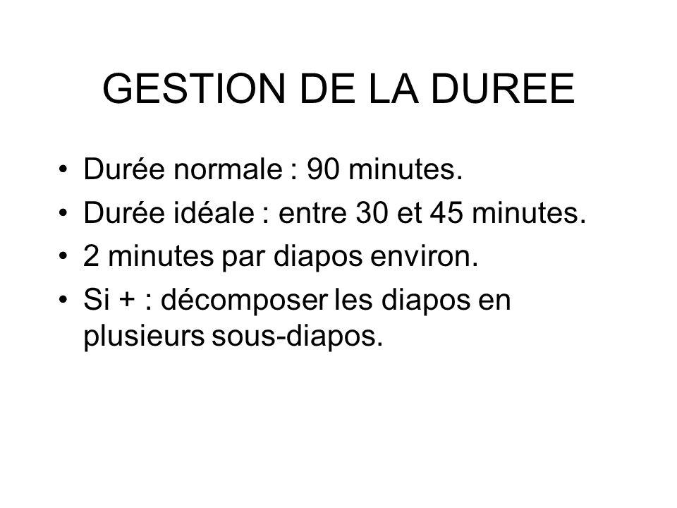 GESTION DE LA DUREE Durée normale : 90 minutes.
